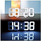 Lunartec LED Wanduhr 3D: Große Digital-LED-Tisch- &...
